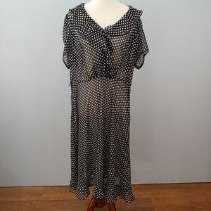 LANE BRYANT Black White Polka Dot Dress Ruffle, 20
